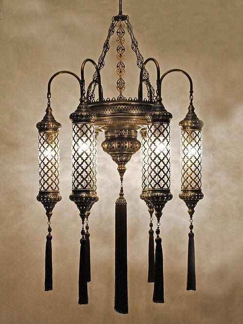 OUTSTANDING LANTERN STYLE TURKISH CHANDELIER, 6 LAMPS