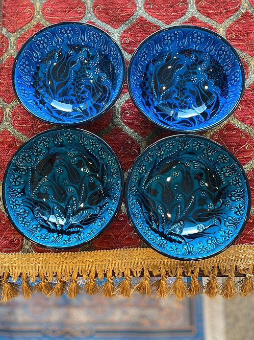 "LARGE TURKISH CERAMIC BOWL SET OF FOUR, 15 cm (5.9"")"