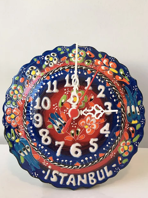 "TURKISH CERAMIC WALL CLOCK, 25 CM (9.84"")"