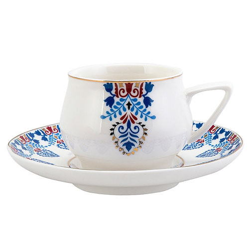 6x PORCELAIN TURKISH COFFEE SET FOR SIX, KR-01