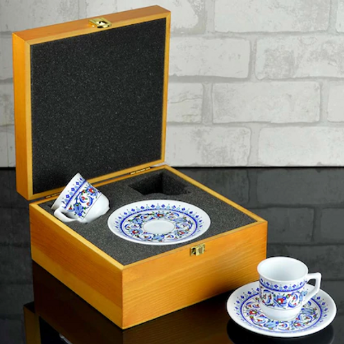 PORCELAIN TURKISH COFFEE GIFT SET WITH WOODEN BOX
