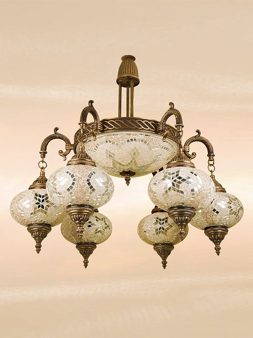 LARGE HANDMADE MOSAIC CHANDELIER, 7 LAMPS