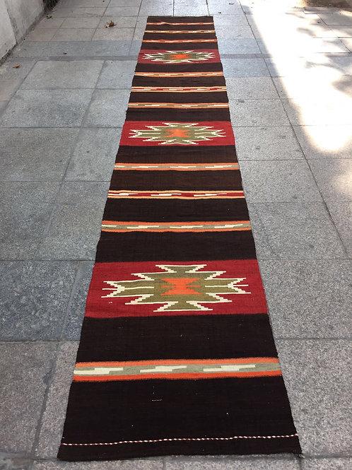 "TRIBAL TURKISH KILIM RUNNER, 177 "" x 27 "" ( 450 x 70 cm )"