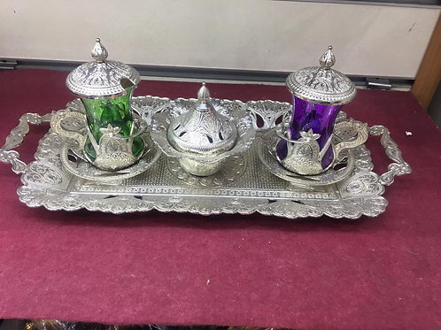 5x TURKISH TEA SET FOR TWO, SILVER