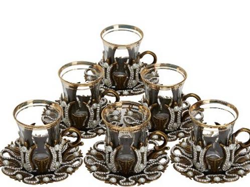 ORIENTAL TURKISH TEA GLASS SET FOR SIX