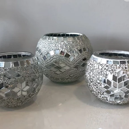 WHITE LARGE MOSAIC CANDLE HOLDER, 30 PIECES