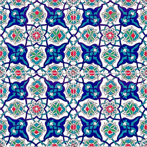 "4x TURKISH CERAMIC TILE SET, 20 x 20 cm ( 7.8"" x 7.8"" ), 0032"