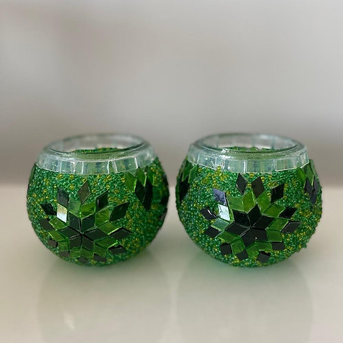 MOSAIC CANDLE HOLDER SET OF TWO