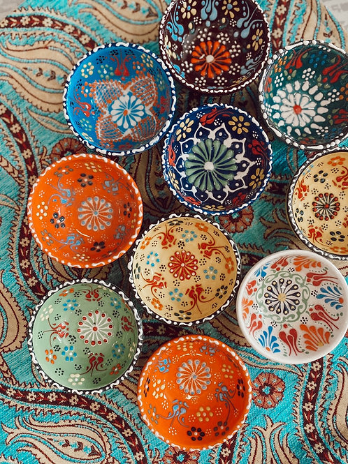 "10x ASSORTED TURKISH CERAMIC BOWL SET OF TEN, 5 cm (1.9"")"