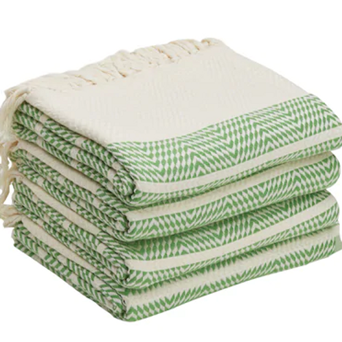 4x TURKISH PESHTEMAL TOWEL SET OF FOUR, YOGA / GYM TOWEL