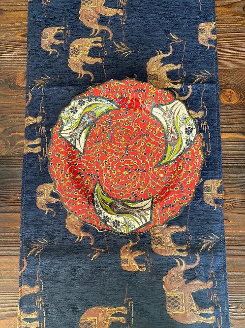 "ORIENTAL TABLE RUNNER, 45 x 130 cm ( 17.7 "" x 51 "" ), ELEPHANT BLUE"