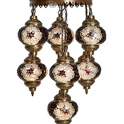 TURKISH MOSAIC CHANDELIER, 7 LAMPS ...