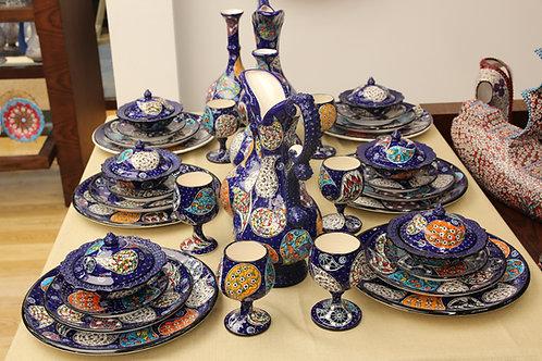 TURKISH CERAMIC DINNERWARE SET FOR SIX