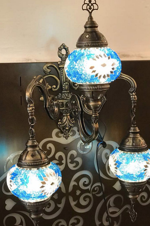 TURKISH MOSAIC WALL LAMP,3 GLOBES, KD21