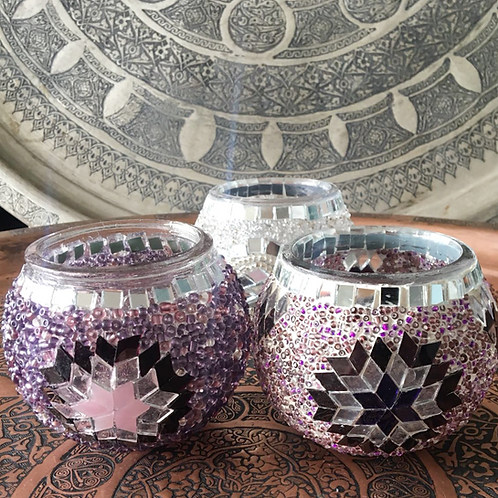 MOSAIC CANDLE HOLDER SET OF THREE