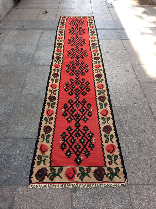 "RED TURKISH KILIM RUNNER, 140 x 27 "" ( 357 x 70 cm )"