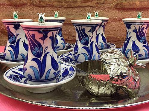 HANDMADE TURKISH TEA SET, IZNIK CERAMICS&COPPER