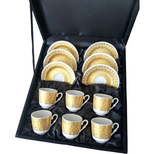 PORCELAIN TURKISH COFFEE SET FOR SIX, GOLD 003
