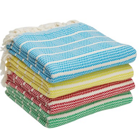 4x PREMIUM PESTEMAL TOWEL SET, MULTI-COLOR