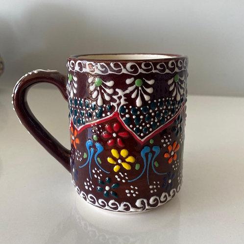 HANDMADE TURKISH CERAMIC COFFEE CUP, BROWN