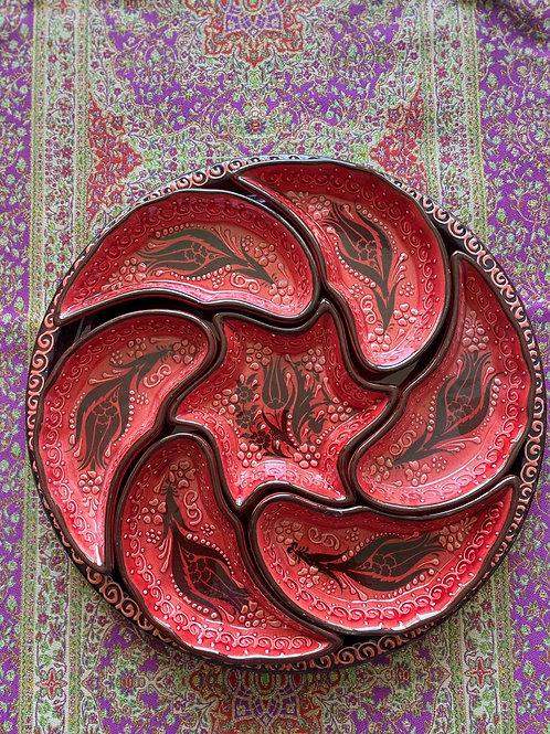TURKISH CERAMIC BREAKFAST SET, RED