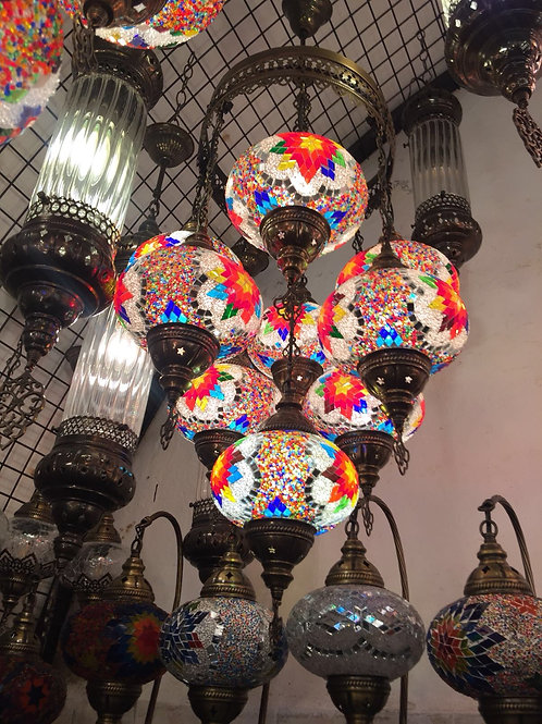 MOSAIC CHANDELIER, 9 LAMPS, NO 2