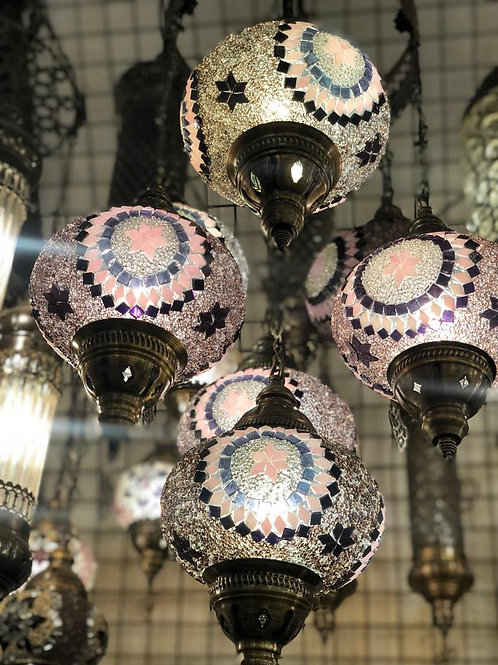 TURKISH MOSAIC CHANDELIER, 5 LAMPS, NO 3