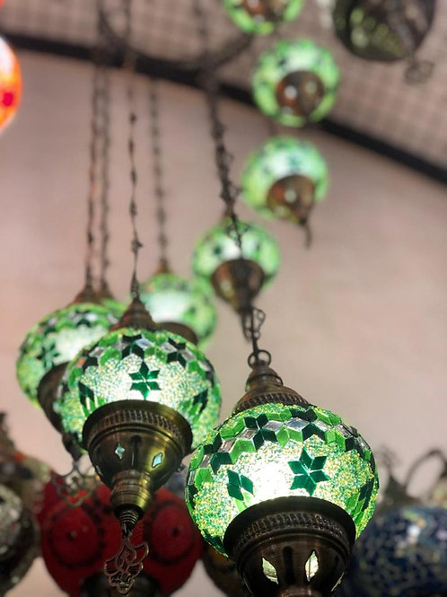 GREEN MOSAIC SPIRAL CHANDELIER, 7 LAMPS, NO3