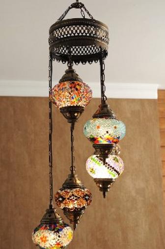 "5 LAMPS SPIRAL TURKISH MOSAIC CHANDELIER, MIX COLORS, GLOBE SIZE: 12 CM (4.7"")"