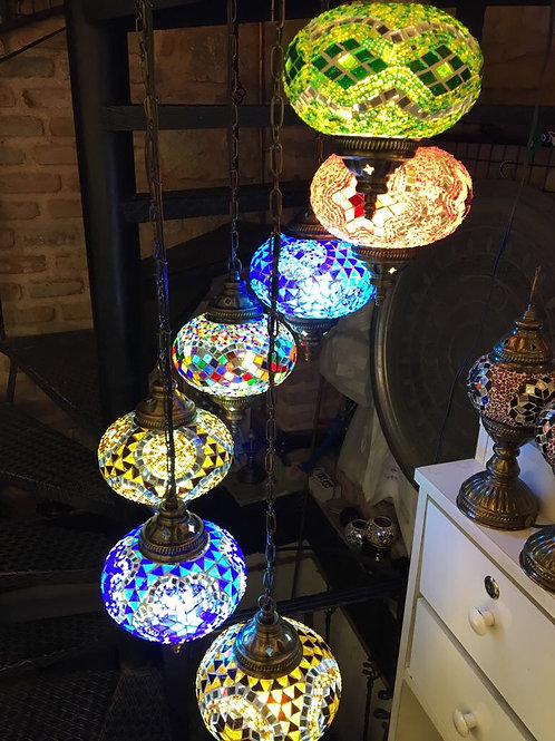 TURKISH MOSAIC CHANDELIER, 7 LAMPS, LARGE GLOBES, NO 3