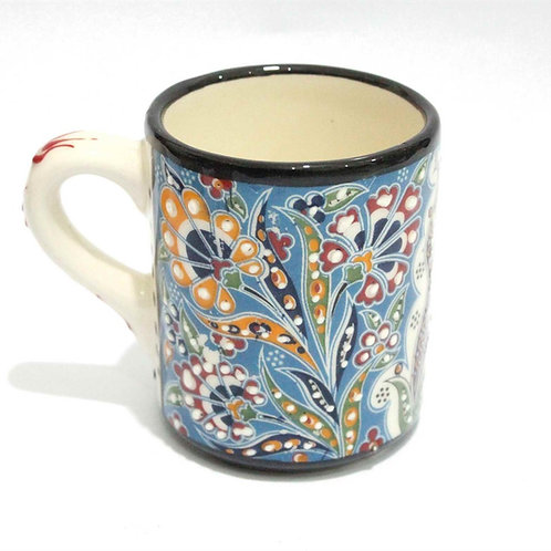 HANDMADE TURKISH CERAMIC COFFEE CUP, BLUE