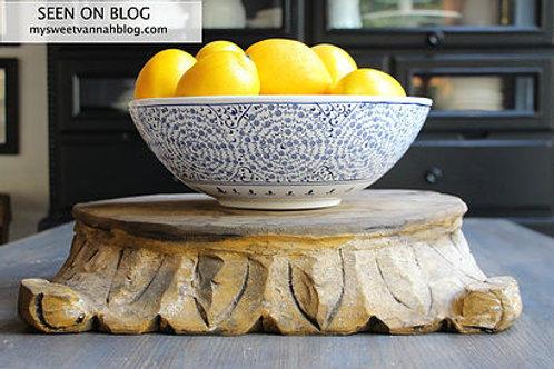 WHITE AND BLUE TURKISH CERAMIC BOWL, GOLDEN HORN