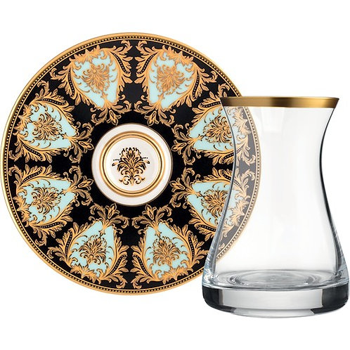 LUXURIOUS TURKISH TEA GLASS SET FOR SIX, GOLD PLATED 002