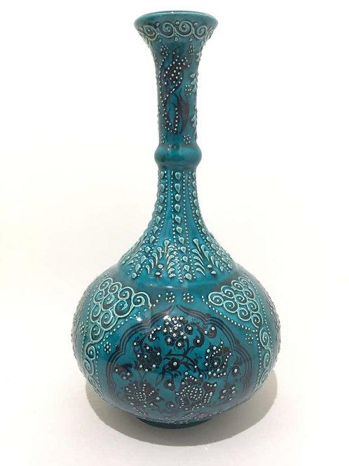"""FIRUZE TURKISH CERAMIC VASE , 30 cm (11.8""""), TEAR STYLE"""