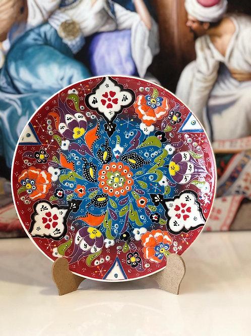 "TURKISH CERAMIC PLATE, 25 cm (9.8""), FLORAL 002"