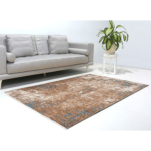 BLUE AND BROWN TURKISH REVERSIBLE CARPET, WASHABLE