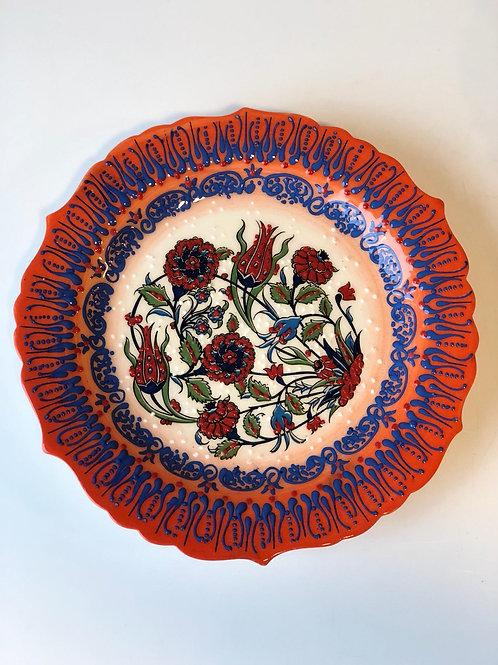 """TURKISH CERAMIC PLATE, 25 cm (9.8""""), ORANGE 002"""