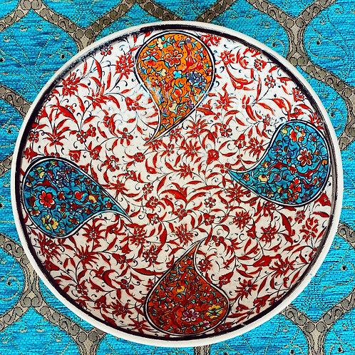 """LARGE TURKISH CERAMIC SALAD BOWL, 22 cm (8.6""""), UNIQUE 007"""
