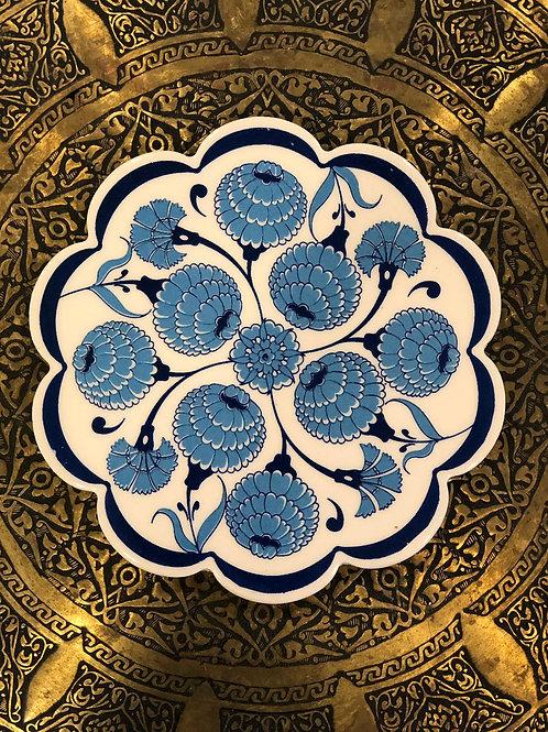 "LARGE TURKISH CERAMIC COASTER, 20 cm (7.8""), BLUE"