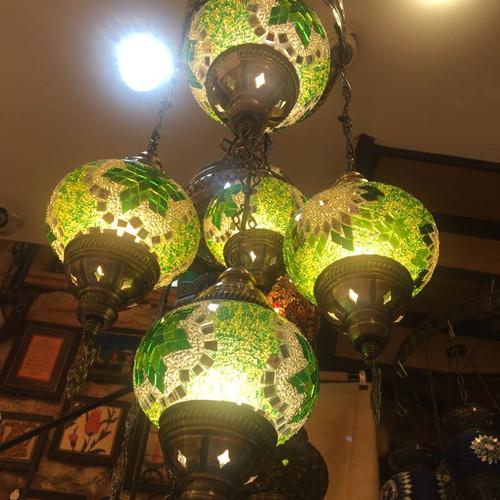 Grand bazaar shopping buy from grand bazaar istanbul shops turkish mosaic chandelier 5 lamps green no 2 aloadofball Images