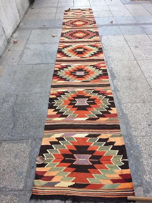 "TURKISH KILIM RUNNER, 153 "" x 26 "" ( 390 x 68 cm )"