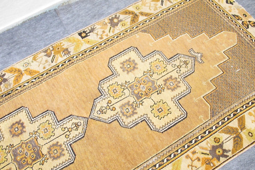 TURKISH FADED OUSHAK RUG, YELLOW, 6.7' x 3.5' feet