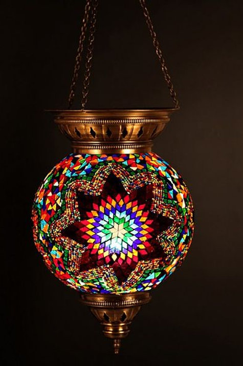 LARGE MOSAIC CEILING LAMP, ORIENTAL COLORS