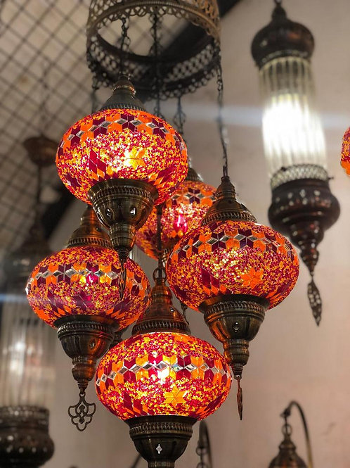 TURKISH MOSAIC CHANDELIER, 5 LAMPS, NO 3