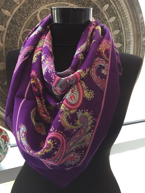UNIQUE FLORAL SCARF, PURPLE 84