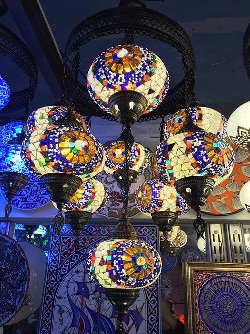 MOSAIC CHANDELIER, 9 LAMPS, MULTI-COLOR