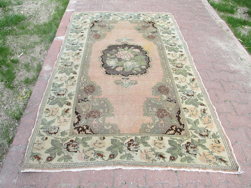 """FADED PINK OUSHAK RUG, 91 x 56"""" ( 233 x 143 cm )"""