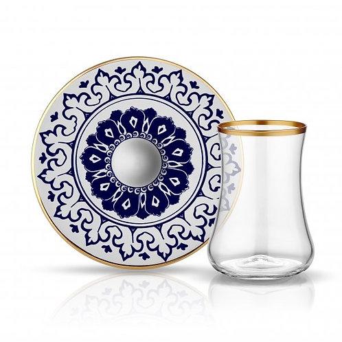 HANDMADE TURKISH TEA GLASS SET FOR SIX