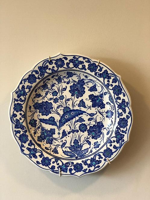 "TURKISH CERAMIC PLATE, 30 cm(11.8""), BLUE AND WHITE"