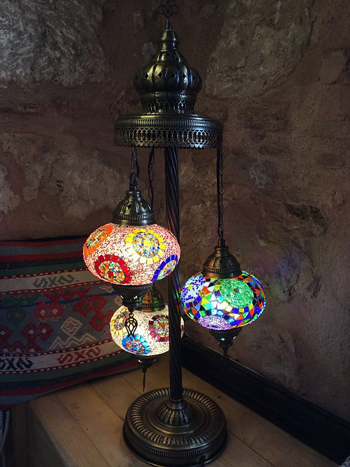 HANDMADE TURKISH MOSAIC FLOOR LAMP, 3 LAMPS